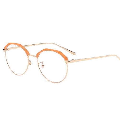 Personality Polygon Flat Glasses Retro Decorative Glasses Frames -Orange