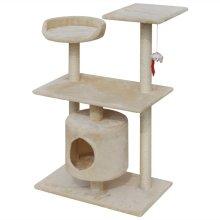 vidaXL Cat Tree Scratching Post 94.5 cm 1 House Beige