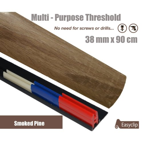 Smoked Pine Multi Purpose Threshold Strip 38x90cm Adhesive Clip System