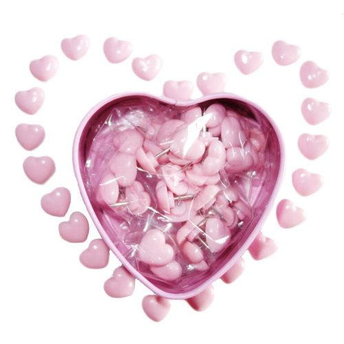 Pink Heart Shaped Pushpins Attractive Heart Packaging