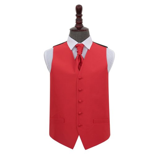 Red Solid Check Wedding Waistcoat & Cravat Set 40'