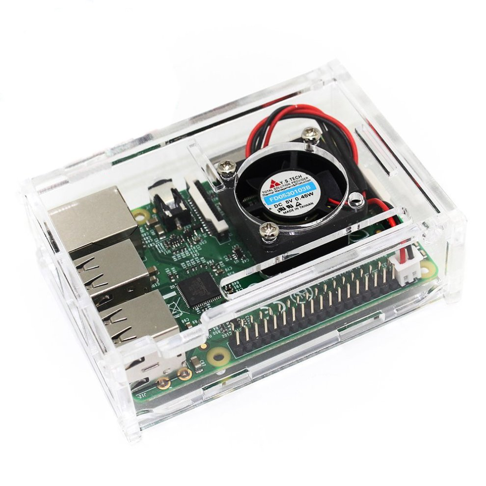 TRIXES Acrylic Case + Cooling Fan for Raspberry Pi 3 & 2 Model B and  Raspberry Pi Model B+