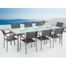 Garden Table and Chairs - Dining Set - 8 Seater - Cracked Ice Glass - Grey Chairs - GROSSETO