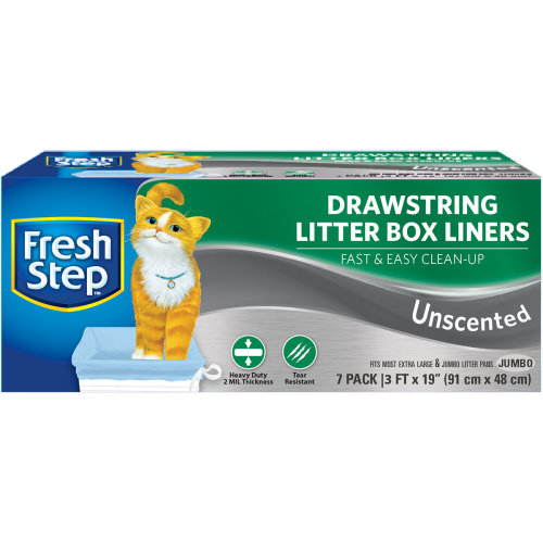 Fresh Step Drawstring Litter Box Liners 7/Pkg-Jumbo Unscented
