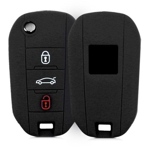 kwmobile Peugeot Citroen Car Key Cover - Silicone Protective Key Fob Cover for Peugeot Citroen 3 Button Car Flip Key - Black