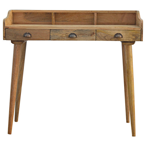 Solid Wood Nordic Writing Desk With 3 Drawers & Gallery Back
