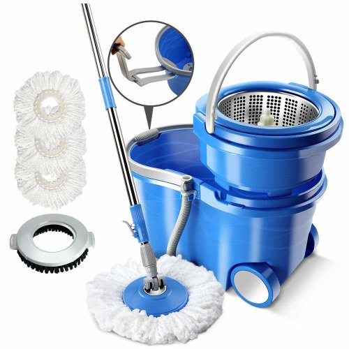 Masthome Stainless Steel 360° Magic Spin Mop and Bucket,3 Replacement Microfiber Wringer Mop Heads and 1 pc Floor Brush Mop Head