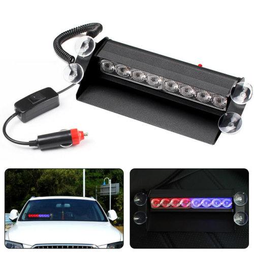 8 LED Car Truck Red/Blue Strobe Emergency Flashing Light Flash Dash Lamp