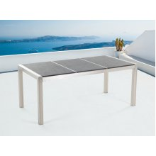 Outdoor Dining Table for 6 - Black Granite Top - GROSSETO