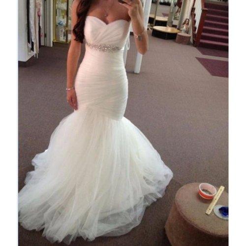 Sweetheart neckline Strapless Tulle with Beaded Waistline Wedding Dress New