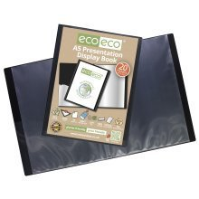 3 x A5 Recycled 20 Pocket / 40 Views Presentation Display Book - Black
