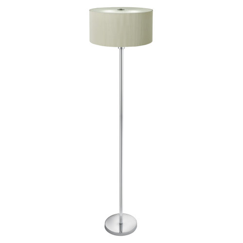 DRUM PLEAT - 3 LIGHT FLOOR LAMP CREAM PLEATED SHADE, FROSTED GLASS DIFFUSER