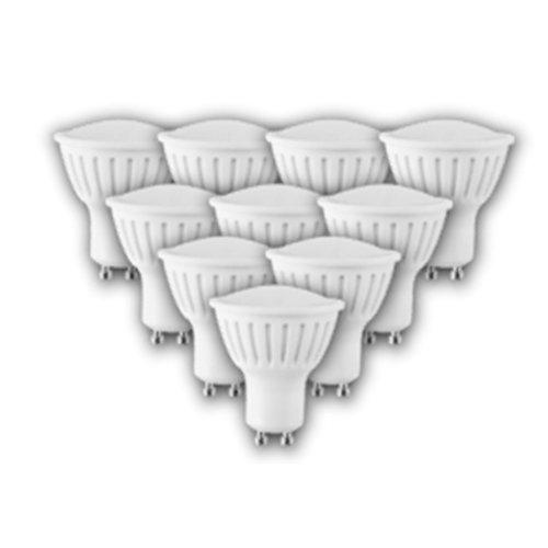 6W GU10 4000K 450lm Natural White LED Spot Bulb White Plastic (10 PACK)