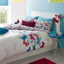 Catherine Lansfield Butterfly Fusion Duvet Cover King Size Cotton Bedding Set