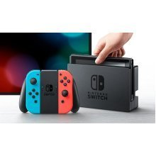 Nintendo Switch Console with Neon Red and Blue Joycon Controllers