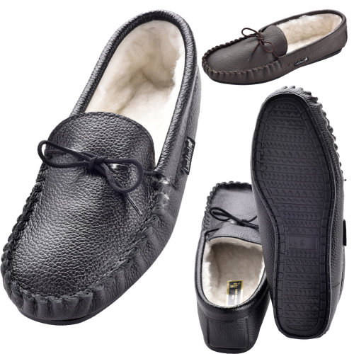 f8befbb78d6 Lambland Genuine Leather Wool Lined Moccasin Slippers with Hard Sole on  OnBuy