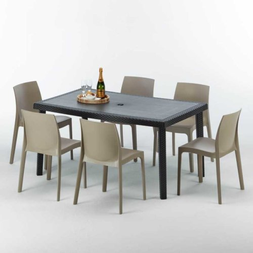 Bar Table With 6 Chairs Plastic Polyrattan Black 150x90