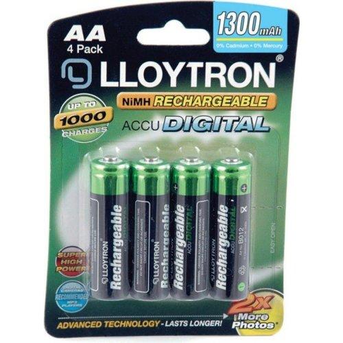 4 x Lloytron AA Rechargeable Batteries 1300 mAh NiMH HR6 HR6 ACCU phone