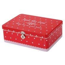 Cute Password Box Desktop Storage/Jewelry Box Safe Lock With Iron Box-Red