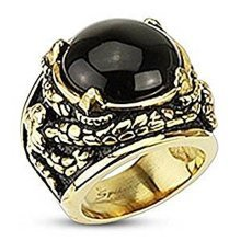 Wide Onyx Stone Center Dragon Claw and Entangled Venom Gold Plated 24mm Width Surgical Steel Cast Ring