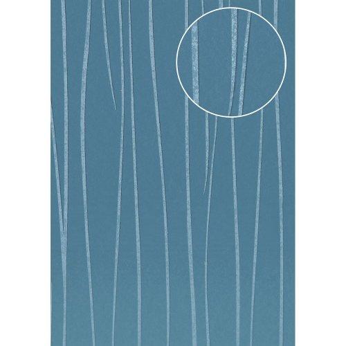 Atlas COL-570-3 Stripes wallpaper shimmering blue grey 5.33 sqm