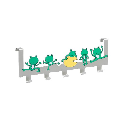 Frog Design Wardrobe/Door Hook Rail with 5 Hooks Matte/Coloured Aluminium