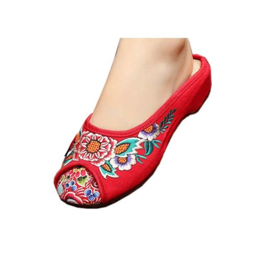 Womens Embroidered Summer Slippers Wedges Sandals Shoes for Cheongsam, #13