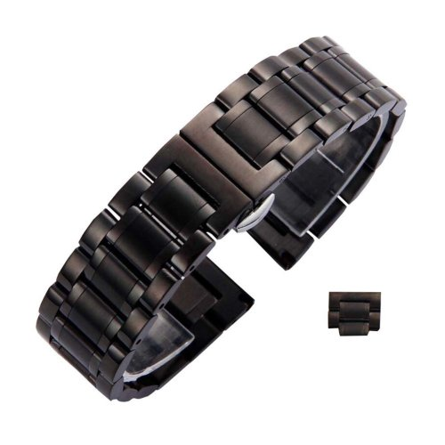 Useful Steel Wrist Replacement Straight Cut Butterfly Clasp Watch Band/Strap Black