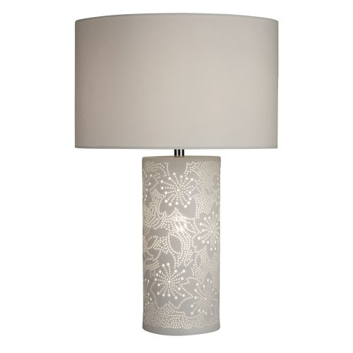 Searchlight Stencil Patterned White Ceramic Dual Light Table Lamp