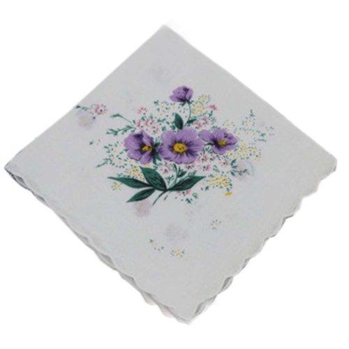 3 Pcs Retro Floral Print Handkerchiefs Ladies Cotton Pocket Handkerchief, #12