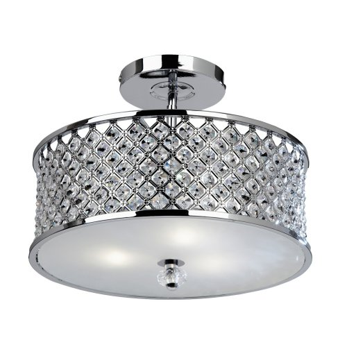 Modern Chrome Crystal Ceiling Light With Glass Diffuser