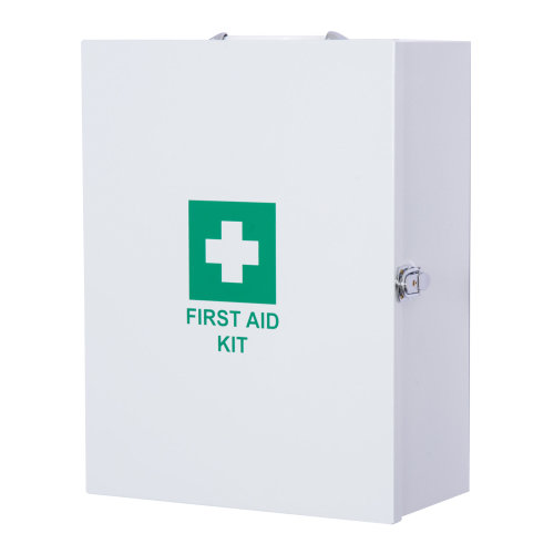HOMCOM First Aid Kit Wall Mounted Metal Medical Medicine Cabinet Tablet Box for Home Office Lockable Door White