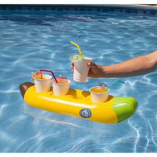 BigMouth Inflatable Banana Boat Multi Drinks Pool Float Beach Holiday Swimming Water Beach