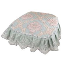 European Style Lace Chair Pads Anti-slip Soft Dining Cair Cushion, Light Green