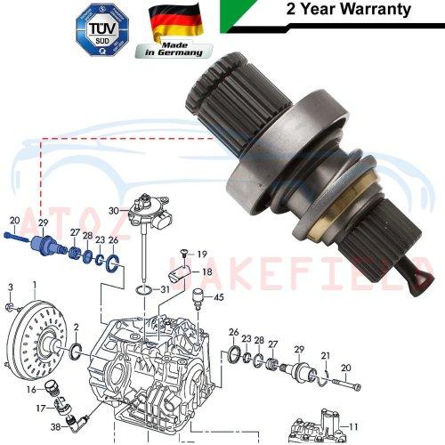 FOR VW TRANSPORTER T5 1.9 TDi RIGHT AUTOMATIC DRIVESHAFT ADAPTOR STUB AXLE SHAFT