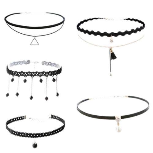 Fashion Chain Collar Neck Ornament Neckband Lace Necklace 5 PCS(M)