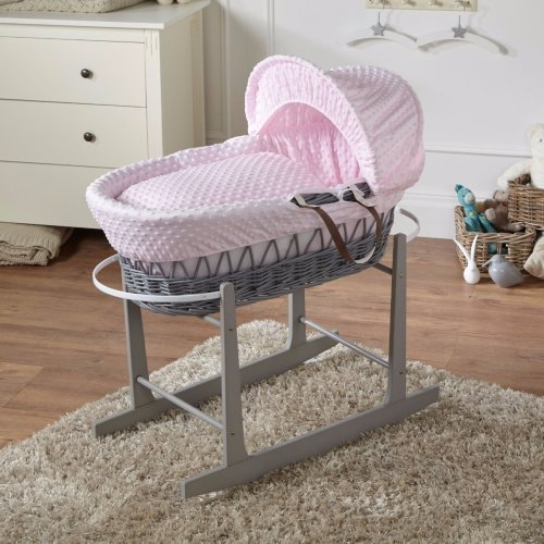 Pink Dimple Bedding & Grey Wicker Rocking Moses Basket