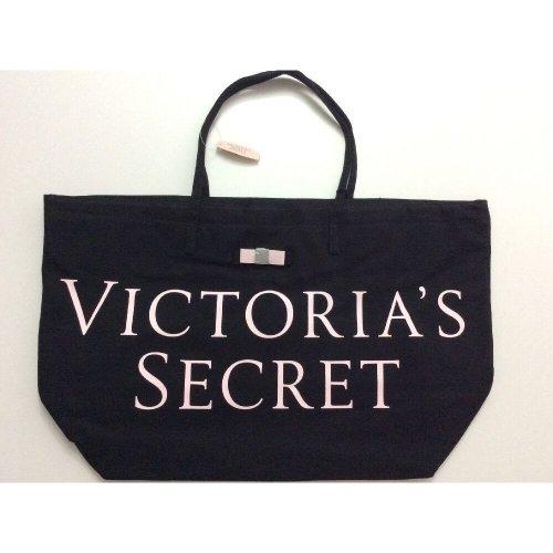 Victoria's Secret Logo Beach Travel Tote Bag Black