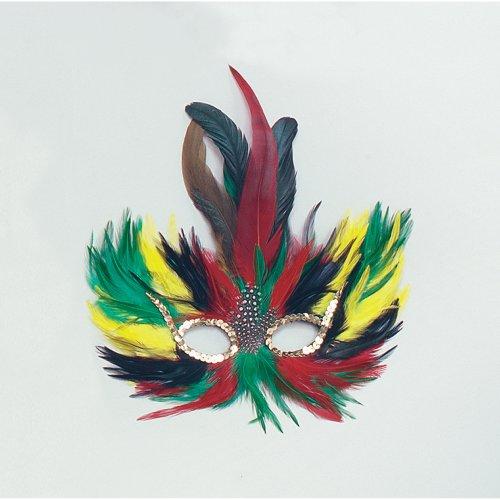 Bird Multi-coloured Feather - Mask - Fancy Dress Masquerade Tropical Coloured -  feather fancy dress mask masquerade tropical coloured eye ball