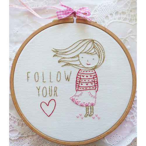 """Charles Craft/Tamar Embroidery Kit 8""""X8""""-Follow Your Heart"""