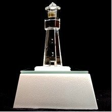 Crystal Glass Lighthouse Ornament with Light box