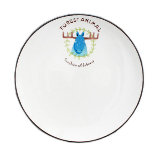 Creative Simple Style Fine Cartoon Ceramic Dinner Plate Dessert Dish Fruit Plate (8 inches) #32