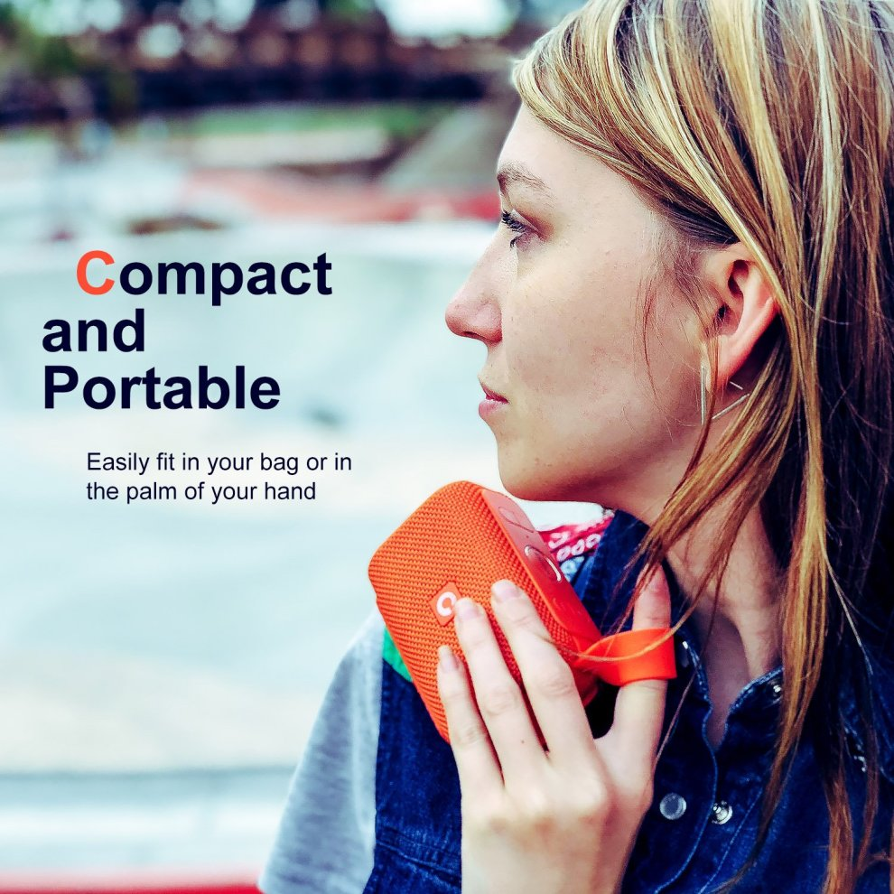 DOSS E-Go Portable Bluetooth Speaker with Loud Volume, Increased Bass, IPX5  WaterProof, Built-in Mic  Perfect Wireless Speaker for Phone, Echo Dot