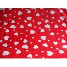 "Hearts Poly Velour Fabric By the metre 58"" / 147cmWide"