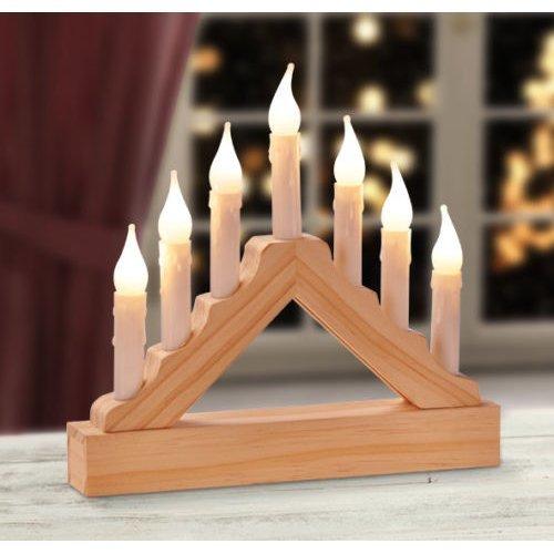 Pre-Lit Wooden Candle Bridge