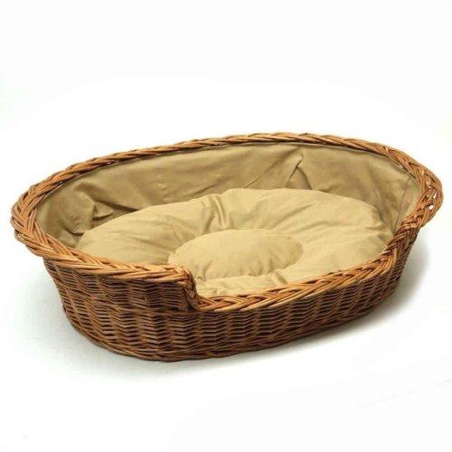 Extra Extra Large Medium Willow Dog Cat Pet Wicker Basket Light Colour Cushion