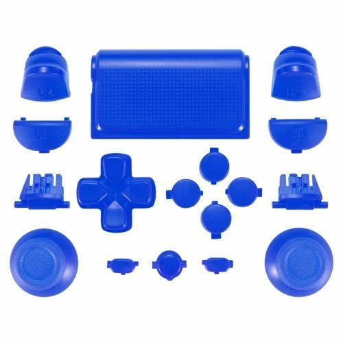 ZedLabz full replacement button set mod kit for 2nd gen Sony PS4 JDM-030 controllers - blue