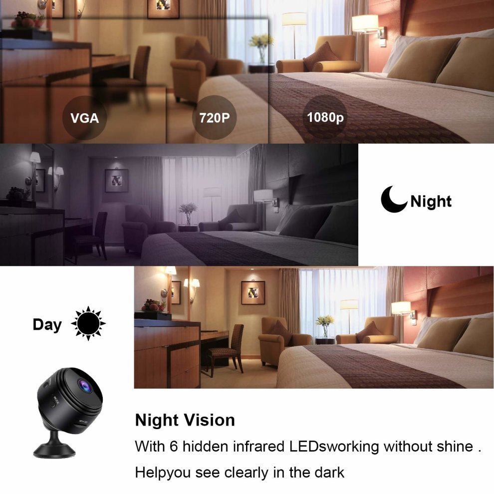Wifi Mini Spy Hidden Camera Eternal eye Wireless ip camera HD 1080P with  Motion Detection Night Vision Security Cameras, Nanny Baby Pet Cam for
