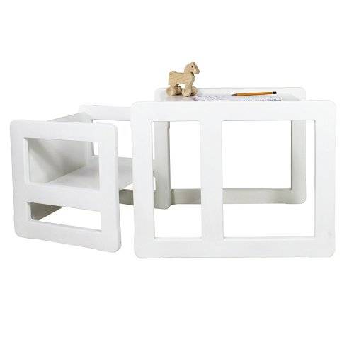 Obique Multifunctional Furniture Set of 2, 1 Chair & 1 Table, White