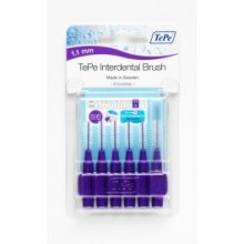 1.1mm Purple Tepe Interdental Brushes - 6 Brush 11mm Size Pack Clean Between -  tepe interdental 6 brush purple 11mm brushes size pack clean between